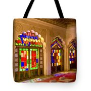 India, Stained Glass Windows Of Fort Tote Bag by Bill Bachmann