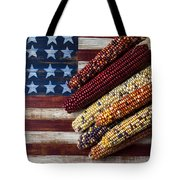 Indian Corn On American Flag Tote Bag by Garry Gay