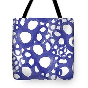 Indigo Bubbles- Contemporary Absrtract Watercolor Tote Bag by Linda Woods