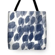 Indigo Rain- Abstract Blue And White Painting Tote Bag by Linda Woods