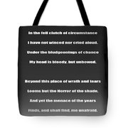 Invictus By William Ernest Henley Tote Bag by Daniel Hagerman