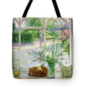 Irises And Sleeping Cat Tote Bag by Timothy Easton