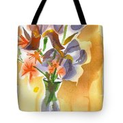 Irises With Stars Of Bethlehem Tote Bag by Kip DeVore