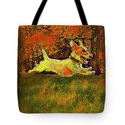 jack russell in autumn Tote Bag by Jane Schnetlage
