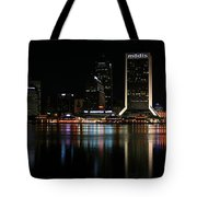 Jacksonville Skyline At Night Tote Bag by Georgia Fowler