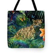 Jaguar Meadow Tote Bag by Alixandra Mullins