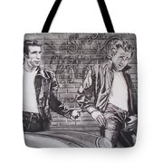 James Dean Meets The Fonz Tote Bag by Sean Connolly
