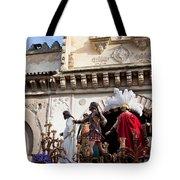 Jesus Christ And Roman Soldiers On Procession Platform Tote Bag by Artur Bogacki
