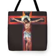 Jesus On The Cross Tote Bag by Zorina Baldescu