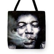 Jimi Hendrix-Burning Lights-2 Tote Bag by Reggie Duffie