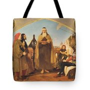 John Wycliffe Reading His Translation Of The Bible To John Of Gaunt Tote Bag by Philip Ralley