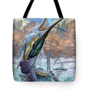 Jumping Sailfish And Flying Fishes Tote Bag by Terry Fox