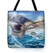 Jumping Sailfish And Small Fish Tote Bag by Terry Fox