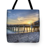 Juno Beach Pier At Dawn Tote Bag by Debra and Dave Vanderlaan
