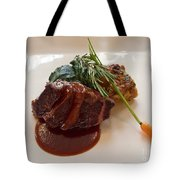 Kobe Beef With Spring Spinach And A Wild Mushroom Bread Pudding Tote Bag by Louise Heusinkveld