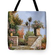 La Terrazza Un Vaso Due Palme Tote Bag by Guido Borelli