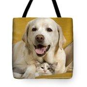 Labrador With Cat Tote Bag by Jean-Michel Labat
