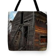 Ladder Against A Barn Wall Tote Bag by Jeff Swan