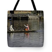 Ladies Plying A Small Boat In The Dal Lake In Srinagar - In Fron Tote Bag by Ashish Agarwal