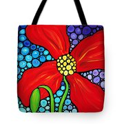 Lady In Red - Poppy Flower Art By Sharon Cummings Tote Bag by Sharon Cummings
