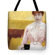 Lady With Black Kitten Tote Bag by Giuseppe De Nittis