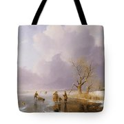 Landscape With Frozen Canal Tote Bag by Remigius van Haanen
