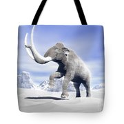 Large Mammoth Walking Slowly Tote Bag by Elena Duvernay