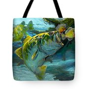 Large Mouth Bass And Blue Gills Tote Bag by Savlen Art