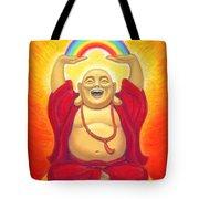 Laughing Rainbow Buddha Tote Bag by Sue Halstenberg