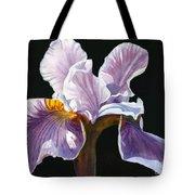 Lavender Iris On Black Tote Bag by Sharon Freeman