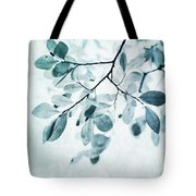 Leaves In Dusty Blue Tote Bag by Priska Wettstein