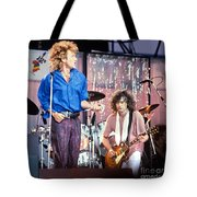 Led Zeppelin Page And Plant Live Aid 1985 Tote Bag by Chuck Spang