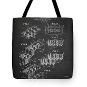 Lego Toy Building Brick Patent - Dark Tote Bag by Aged Pixel