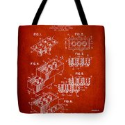Lego Toy Building Brick Patent - Red Tote Bag by Aged Pixel