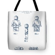 Lego Toy Figure Patent - Blue Ink Tote Bag by Aged Pixel