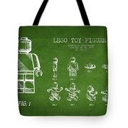 Lego Toy Figure Patent Drawing From 1979 - Green Tote Bag by Aged Pixel