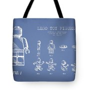 Lego Toy Figure Patent Drawing From 1979 - Light Blue Tote Bag by Aged Pixel