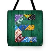 Letter E Alphabet Vintage License Plate Art Tote Bag by Design Turnpike