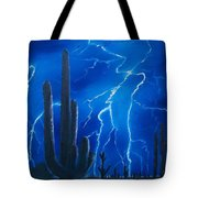 Lightning  over the Sonoran Tote Bag by Sharon Duguay