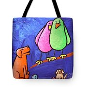 Limb Birds - Big Dog Little Dog Tote Bag by Linda Eversole