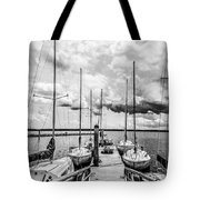 Lined Up At The Dock Tote Bag by Kathy Liebrum Bailey