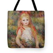 Little Girl Carrying Flowers Tote Bag by Pierre Auguste Renoir