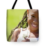 Little Girl Holding Weeds Tote Bag by Hanson Ng