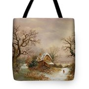Little Red Riding Hood In The Snow Tote Bag by Charles Leaver