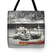 Lobster Boats After Snowstorm In Tenants Harbor Maine Tote Bag by Keith Webber Jr