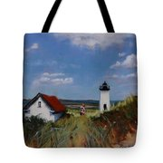 Long Point Lighthouse Tote Bag by Laura Lee Zanghetti