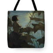 Looking At The Moon Circa 1916 Tote Bag by Aged Pixel