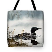 Loons Misty Shore Tote Bag by James Williamson
