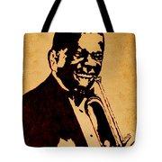 Louis Armstrong Original Coffee Painting Art Tote Bag by Georgeta  Blanaru