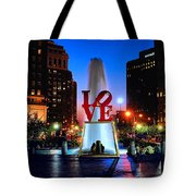 Love At Night Tote Bag by Nick Zelinsky